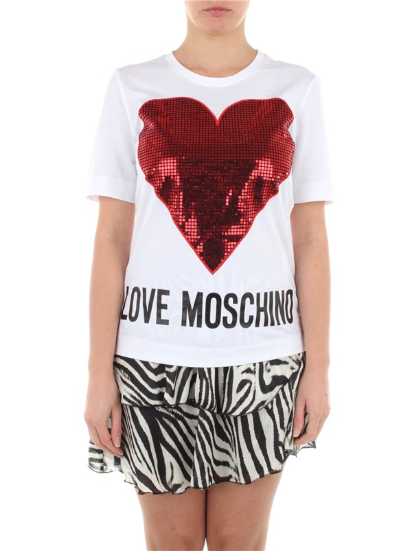 Love Moschino Clothing women T-shirt White Red W4F15 2Q M3876